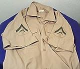 Vintage ARMY or USMC Short Sleeve Shirt w 2 RIFLES Patches Size Medium