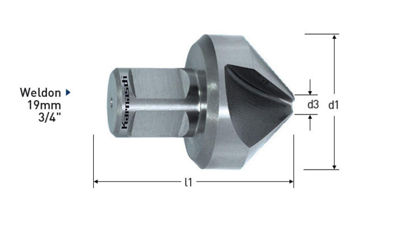 4 mm Mindestdurchmesser 47 mm L/änge Karnasch 201295030 Konischer Absenker 90 Grad mit Weldon-Schaft 3 Klingen 30 mm maximaler Durchmesser