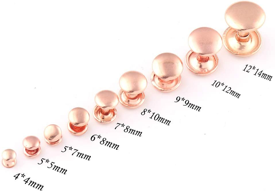 78mm Rose Gold Double Cap Rivets,Metal Button Round Rapid Rivet,Rivet Studs for Purse Bags Handbags Shoes Belts Leather Craft DIY 100sets