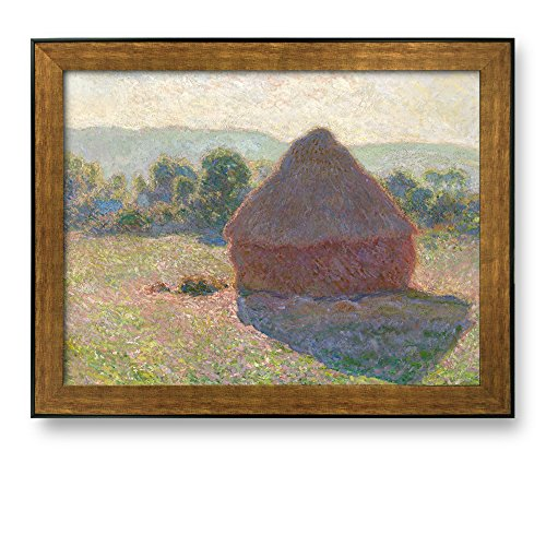 Haystacks Midday by Claude Monet Framed Art Print Famous Painting Wall Decor Bronze and Black Frame