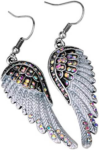 Angel Jewelry Women's Crystal Angel Wings Dangle Earrings