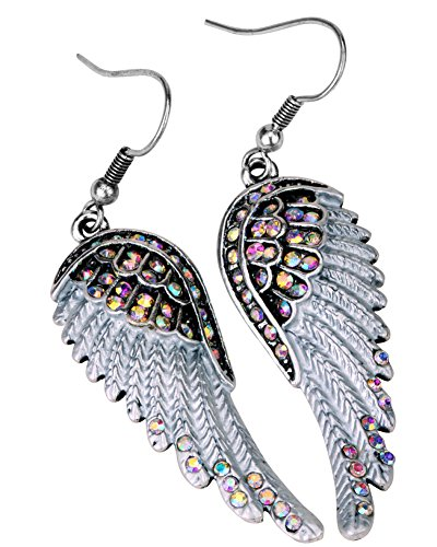 White Earrings Angel - Angel Jewelry Women's Crystal Angel Wings Dangle Earrings