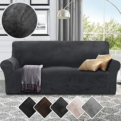 RHF Velvet-Sofa Slipcover, Stretch Couch Covers for 3 Cushion Couch-Couch Covers for Sofa-Sofa Covers for Living Room,Couch Covers for Dogs, Sofa Slipcover,Couch slipcover(Dark Grey-Sofa) (Extra Sofa Covers Large)