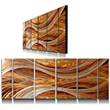 f7ba77748d Yihui Arts Handmade Abstract Group Contemporary Metal Wall Art with Soft  Color (24 x 65