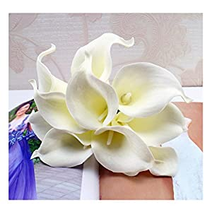 tutu.vivi 10pcs Calla Lily Bridal Wedding Bouquet Head Latex Real Touch Artificial Flower Home Party Wedding Decor 40