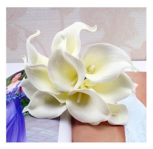 (tutu.vivi 10pcs Calla Lily Bridal Wedding Bouquet Head Latex Real Touch Artificial Flower Home Party Wedding Decor Ivory)
