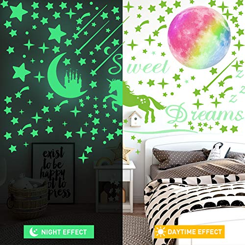 308 Pcs Glow in The Dark Stars for Ceiling, 3D Glowing Unicorn Wall Decals Moon Star Stickers for DIY Boys Girls Bedroom… 4