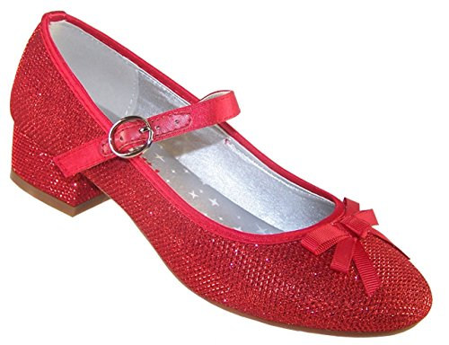 Girls' Red Sparkly Dress Occasion Party Heeled Dorothy Shoes Synthetic Mary-Jane -