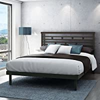 Amisco Highway Metal Platform Bed, Queen Size 60, Cobrizo/Textured Dark Brown