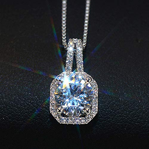 Simple Geometric Square Diamond Full Necklace Pendant Women Girls Short Clavicle Choker Crystal Micro Pave Cz (Venice With Pendant Chain (Chain Box)