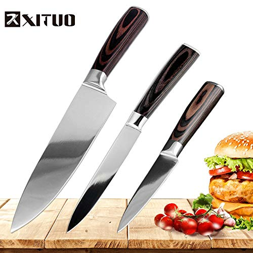 (Best Quality - Knife Sets - 3pcs Set Stainless Steel Kitchen Knife Chef Knives Home Cooking Tools Utility Paring Boning Mirror steel Japanese Santoku - by HURA - 1)