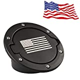 IPARTS Powder Coated Black Steel Gas Fuel Tank Cap Cover for Jeep Wrangler JK JKU Unlimited Rubicon Sahara X Off Road Sport Exterior Accessories Parts 2007-2017 (FLAG)