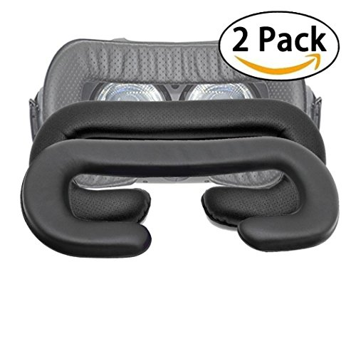 T&B 2PCS VIVE Sponge Mat Breathable PU Face Foam Replacement for HTC VIVE Headset PU Leather Eye Mask Black - 12mm