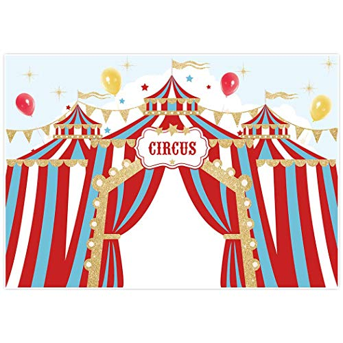 Allenjoy 8x6ft Red Circus Backdrop Carnival Carousel Big Top Tent First 1st Background Girl Boy Birthday Party Dessert Candy Cake Table Decor Decoration Baby Shower Banner Photo Shoot Booth