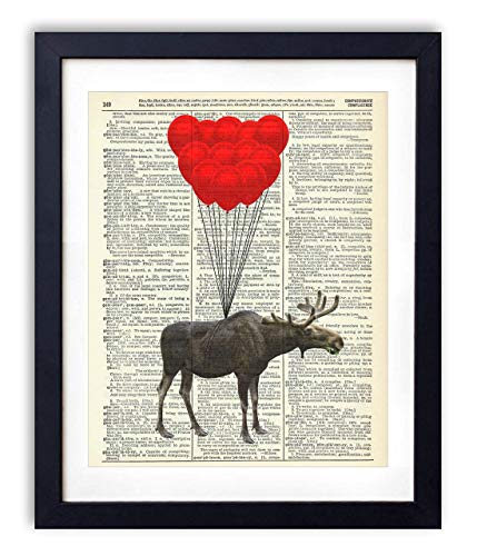 - Moose With Balloons Upcycled Vintage Dictionary Art Print 8x10