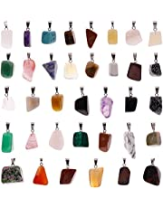 36 قطعة غير نظامية شفاء ستون المعلقات سحر كريستال شاكرا الخرز لصنع المجوهرات DIY ، ألوان متنوعة