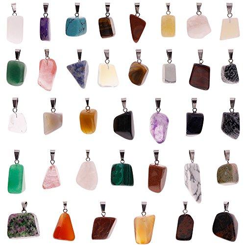 - Keyzone 36 Pieces Irregular Healing Stone Pendants Charms Crystal Chakra Beads for DIY Necklace Jewelry Making, Assorted Color