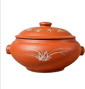 IUYJVR Casserole Household Clay Ceramic Casserole,Stew Pot Soup Pot,Simmering Steam Pot,not-Stick Slow Cooking Heat- Crockpot Casserole Dish(Color:A,Size:4.2Qt/4L)