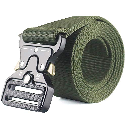 Elibone Military Tactical Nylon Belt Outdoor Training Belt For Men Women Jeans Pants Metal Buckle Straps Green Color Big Size onesize