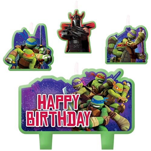 Party Time Teenage Mutant Ninja Turtles Molded Mini Character Birthday Candle Set, Pack of 4, Green , 2.25
