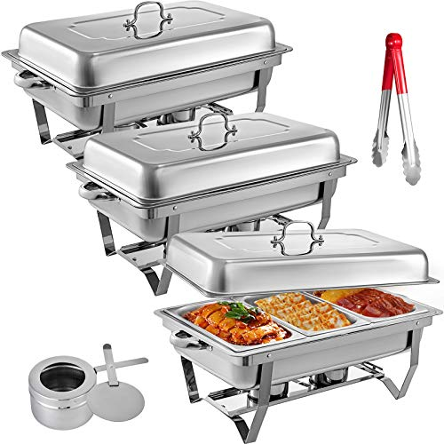 Mophorn 3 Packs Stainless Steel Chafing Dishes 3 1/3rd Size Pans 8 Quart Rectangular Chafer Complete Set Chafing Dishes Food Pans