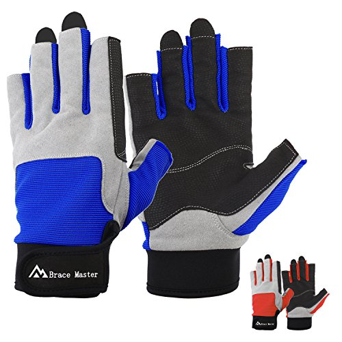 Sailing Gloves Men Women for Sailing, Fishing, Boating, Kayaking, Surfing, Canoe Padding, Dinghy and Water Sports, Leather in Palm to Enhance Gripping, 3/4 Finger Design (Dark Blue, Medium)