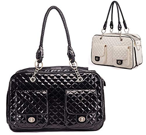 Patent Leather Dog Carrier - Fragil Tox Royal Want Quality Patent Leather Pet Carrier Small Dog Carrier Dog Bag Luxury Diamond Quilted Outdoor Cat Carrier