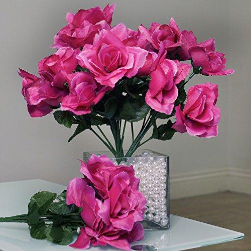Bush Pink Flowers - BalsaCircle 84 Fuchsia Silk Open Roses - 12 bushes - Artificial Flowers Wedding Party Centerpieces Arrangements Bouquets