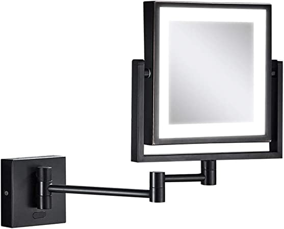 ESPEJOS De Pared Baño Cuadrado Belleza Luz LED Punzón Libre Doble Lado 3X Aumento Maquillaje Plegable Telescópico Negro (Color : Inductive Switch): Amazon.es: Hogar