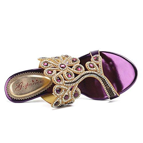 EU38 nbsp; Estate fiori da strass di cave diamanti UK5 sandali sandali cinturini tacco tacco aPawBgqTZ
