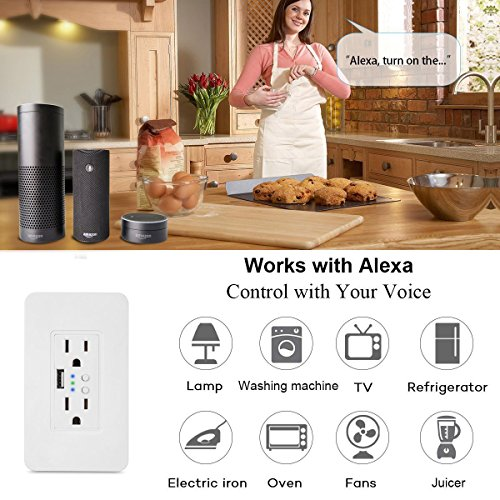 Smart WiFi High Speed USB Charger/USB Charger Wall Outlet (2.0A-5VDC) Dual Outlet Receptacle - Independently Remote Control Duplex Outlet 15A, Wireless Voice Control and Timer Switch with Scheduling by Alysontech (Image #8)