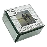 Oaktree Gifts Mirror 3D Words 25th Anniversary Trinket Box
