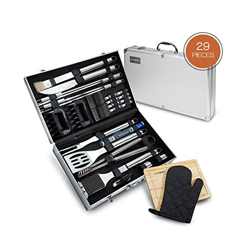 Stainless Steel Bbq Utensils - Vysta 29 Piece BBQ Tools Set - Barbecue Accessories with Carrying Case - Professional Grade Stainless Steel Grill Utensils - Spatulas, Tongs, Forks Skewers, Knives, Brushes and More