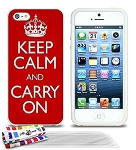 """Carcasa Flexible Ultra-Slim APPLE IPHONE 5S / IPHONE SE de exclusivo motivo [Keep calm] [Blanca] de MUZZANO  + 3 Pelliculas de Pantalla """"UltraClear"""" + ESTILETE y PAÑO MUZZANO REGALADOS - La Protección Antigolpes ULTIMA, ELEGANTE Y DURADERA para su APPLE IPHONE 5S / IPHONE SE"""