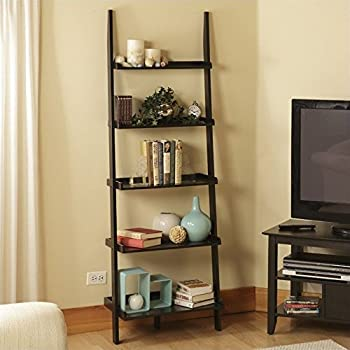 Amazon Com Contemporary Black Finish 5 Tier Ladder Book Shelf Kitchen Amp Dining