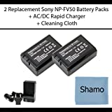 Accessory Kit for Sony Digital Cameras with 2 Replacement Battery Packs For Sony NP-FW50 For The Sony Alpha NEX-3 NEX-5 SLT-A33 SLT-A55 Digital Cameras + AC/DC Charger +Cleaning Cloth
