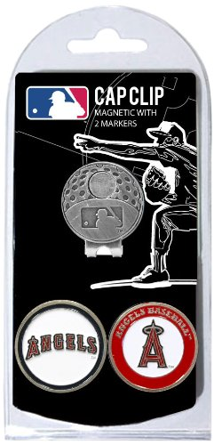 Team Golf MLB Los Angeles Angels Golf Cap Clip with 2 Removable Double-Sided Enamel Magnetic Ball Markers, Attaches Easily to Hats from Team Golf