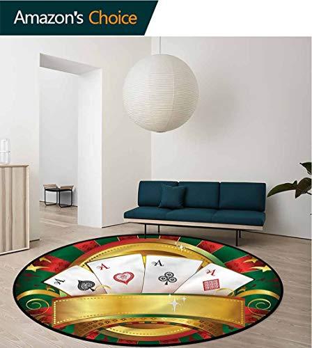 RUGSMAT Poker Tournament Round Rug Kid Carpet,Fortune Card Stack Pattern Floor Seat Pad Home Decorative Indoor Diameter-31