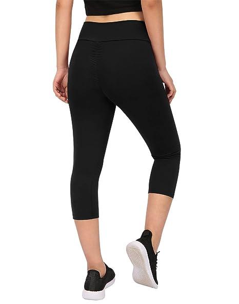 7075eb77e65df6 HDE Womens Scrunch Butt Lifting Capri Leggings High Waist Workout Gym Yoga  Pants (Black,
