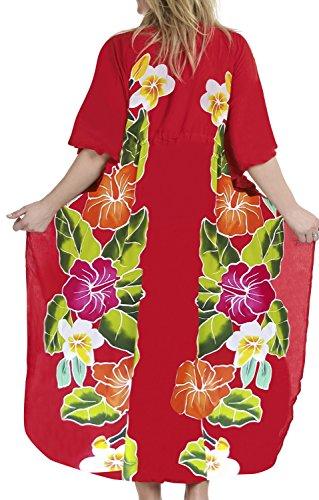 La Leela rayonne douce lisse peinture caftan robe de soirée de maillots de bain occasionnel longue main femmes sans collier cadeau plage nuisette kimono couvrir rouge