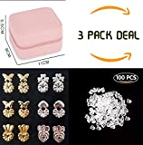 Earring Lifters Bonus Small Jewelry Box Bundle - 6 Pairs of Adjustable Magic Earring Backs + Jewelry Organizer Gold, Sterling Silver Plated Earlobe Support Backing Kit Combo