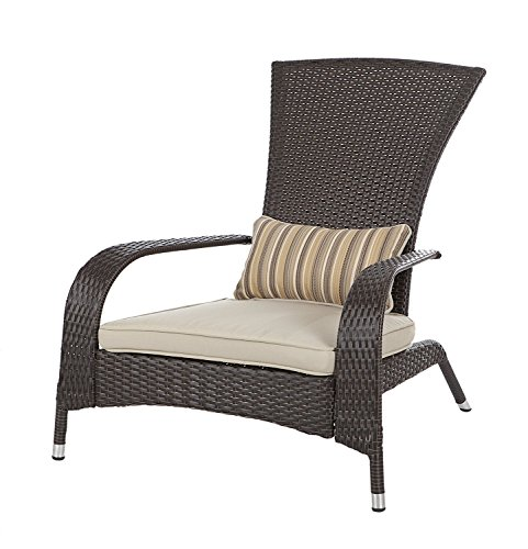 Patio-Sense Coconino All-Weather-Wicker Adirondack Chair with Beige Cushion and Lumbar Pillow