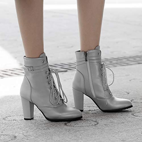 Heels Women Zip Silver Round Black Ankle Silver Block Toe Wedges Heels up Ladies High Boots Lace JIEEME Sexy wpxFHqz4ZB