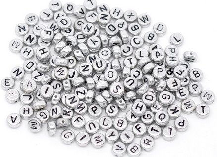 Letter Spacer Beads 7mm (1/4), 500 Pc Silver Tone (Colored Alphabet Letters)