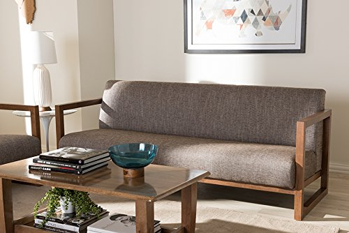 Baxton Studio Valencia Sofa in Brown and Walnut