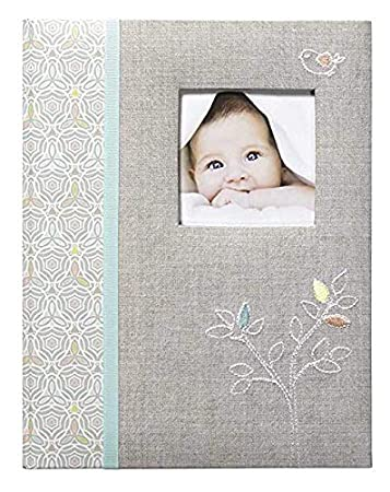 9 W x 11 H 64pgs Gibson Grey Linen Tree Bound First Five Years Memory Baby Book C.R