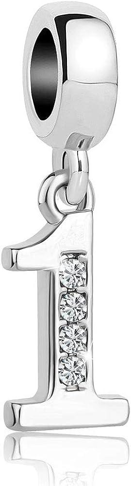 Lifequeen Jewellery Breloque porte-bonheur chiffre 0 /à 9 pour bracelets /à cha/îne serpent