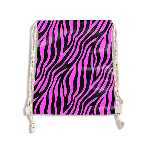 Drawstring Bag for Women Drawstring Hiking Backpack Gym Bright Pink Zebra Striped Bag for Women
