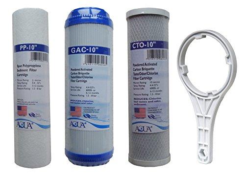 (Universal Reverse Osmosis RO Replacement Set of 3 filter cartridges : Sediment, GAC, CTO Carbon Block for undersink RO. 3 Pk. Size:)