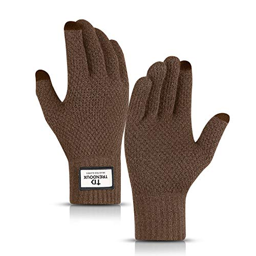TRENDOUX Knit Gloves, Unisex Winter Touchscreen Minimalism Glove Men Women Texting Smartphone Driving - Thermal Soft Wool Lining - Keep Warm in Cold Weather - Coffee - M